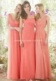 Coral Deep V Collar Backless Empire Chiffon Bridesmaid Dress Yao184
