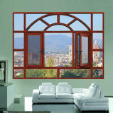 Wooden Grain Window Frame with Integrated Mosquito Mesh and Glass