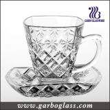High Quality Engraved Glass Tea Cup Set