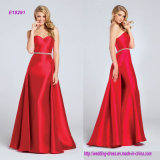 Strapless Sweetheart Mikado Sheath with A-Line Overskirt Evening Dress with Hand-Beaded Waistband