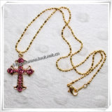 Fashion Golden Plated Clear Cross Pendant Necklace (IO-an003)