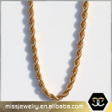 Stainless Steel Mens 14K Gold Rope Chain Necklace Mjcn012