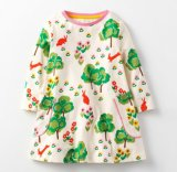 OEM Baby Girls Cotton Longsleeve Casual Dress Cartoon Animal for Kids 3-8yrs