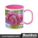 Bestsub 11oz Inner Rim Pink Sublimation Polymer Mug (BPM06P)