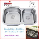 Double Bowl Kitchen Sink and Cupc Certificate Sink (8653AL)