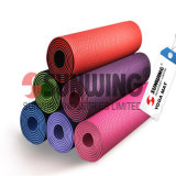 Printed Fabric Rubber Foam Rounded Corner PVC Yoga Mat