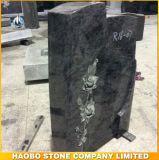 Bahama Blue Flower Granite Carved Gravestone/Headstone