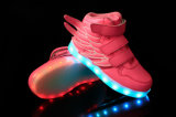 Fashion PU Leather USB LED Light Luminous Shoes with Charging Line