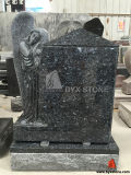 Blue Pearl Granite Standing Angel Carving Headstone