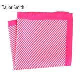 Fashionable Pink Silk Polyester Stripe Printed Pocket Square Hanky Handkerchief