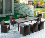 PS-Wooden Inset Top Outdoor Using Garden Furniture Dining Set with Chairs by 8-10person Big Set (YTA020-1&YTD533-1)