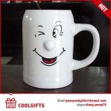 3D Embossed Smile Ceramic Beer Mug for Promotional Gift