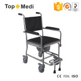 Lightweight Foldable Stainless Steel Commode Wheelchair with Pedal Locking