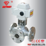 Electric Actuated Stainless Steel Flanged 3 Way Ball Valve