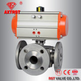 Flanged 3 Way Ball Valve with Single Action Pneumatic Actuator
