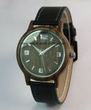 Business Watch Men′s Leather Band Wooden Wrist Watches Hot Sale