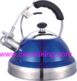 Stainless Steel Whistling Kettle with Blue Color Painting