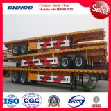 Three BPW/Fuwa Axles 20-53ft Platform Semi Trailer for Container Transport