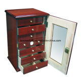 High-Gloss Cherry Lacquer Finish; Silver Hardware 150 Cigars with 7 Drawers Key Set