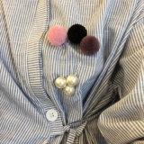 Five Colors POM Poms Big White Simulated-Pearl Brooch Pin