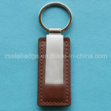 Leather Keychain with Nickel Ring for Gift