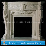Carved Beige Color Marble Stone Fireplace for Indoor Decoration