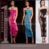Sexy Women Cutout Side Strapless Long Gown Evening Dress (TLQZ026)
