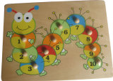 Wooden Caterpillar Peg Puzzle with Wooden Knob
