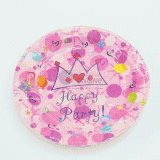 300g Ivory Board Pink Paper Plate for Party