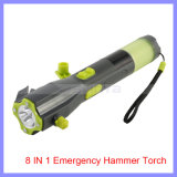 8 in 1 Multi-Function Compass Magnet Sos Emergency Hammer Torch Seat Belt Cutter Hand Crank Charger Dynamo LED Flashlight (1125A)
