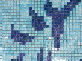 Flower Pattern Swimming Pool Bali Style Blue Swimming Pool Tile Melting Glass Mosaic