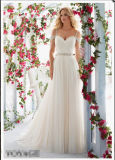 off-Shoulder Chiffon Beaded Waist Wedding Dresses Wd6814