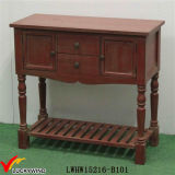 Hand Painted Vintage Console Antique Red Wooden Table