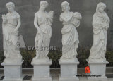 Natural White Marble Outdoor Garden Ladies Sculpture for Decoration