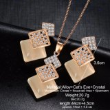 Geometric Gold Color Long Necklace Pendant Jewelry Set