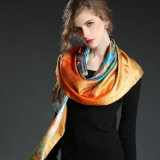 Multicolor Printed Silk Satin Horse Big Square Scarf Shawl 100 * 100 Cm