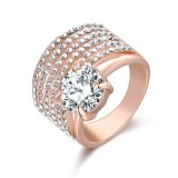 Real Gold Plated Prong Setting Cubic Zircon Fashion Ring