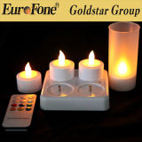 Set of 4 Rechrageable LED Candle Multi Colors with Remote Control