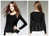 2015 Autumn & Winter Inner Wear Top Fashion Ladie Pullover Sround Collar Long Sleeve Slim Ruffles Pullover Knitted Clothing