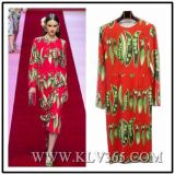Women Fashion Red Long Sleeve Party Dress