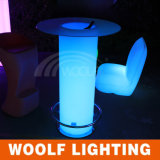 LED Light Glass Bar Table with Ice Bucket