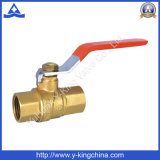 Factory Original Plumbing Brass Color Brass Water Valve with Long Steel Handle in Valve (YD-1025)
