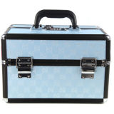 Double Open Light Blue Cosmetic Case