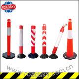 Elastic Rubber Base Plastic Warning Posts Rubber Bollard