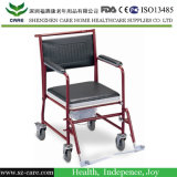 Steel Chrome Rolling Commode Shower Chair with Wheel
