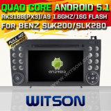 Witson Android 5.1 Car DVD GPS for Benz Slk200/Slk280 Slk350/Slk55 2004-2012 with Chipset 1080P 16g ROM WiFi 3G Internet DVR Support (A5576)