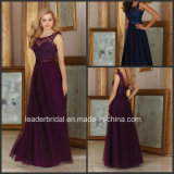 Navy Tulle Prom Gown Lace Win Long Bridesmaid Evening Dress Mrl156