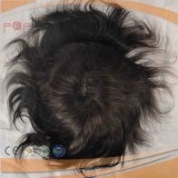 Human Hair Full Hand Tied Front Lace Mens Hairpiece Toupee Wig