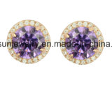 925 Silver Jewelry Wedding Stud Earring with Synthetic Stone