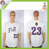 Dreamfox Polyester Dri Fit White Men Blank Custom Baseball Jersey Stripe